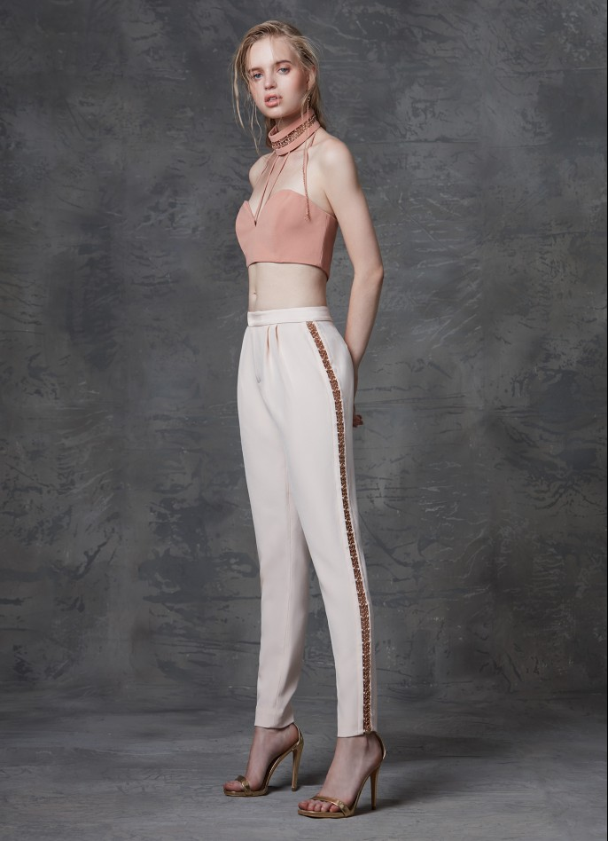 EMBELLISHED STRAIGHT-LEG PANTS