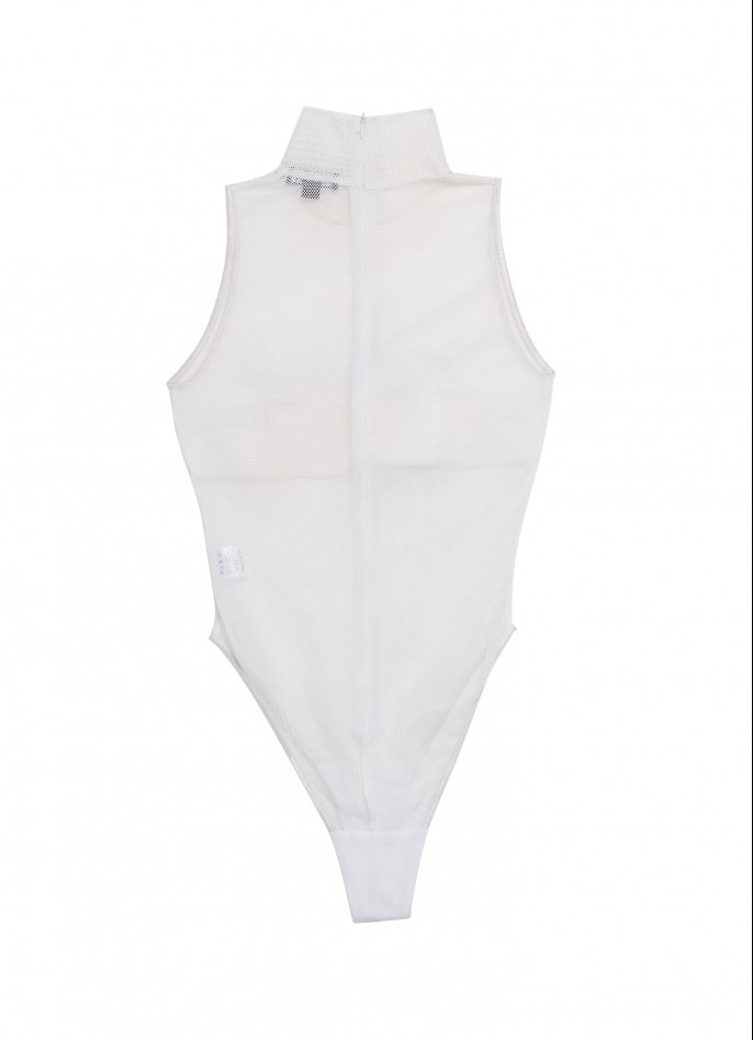 WHITE NEOPRENE AND MESH TURTLENECK BODYSUIT