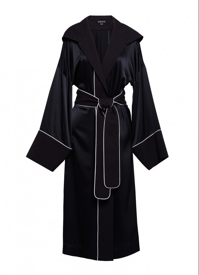 WHITE TRIMMED BLACK SILK SATIN AND COTTON HOODED COAT