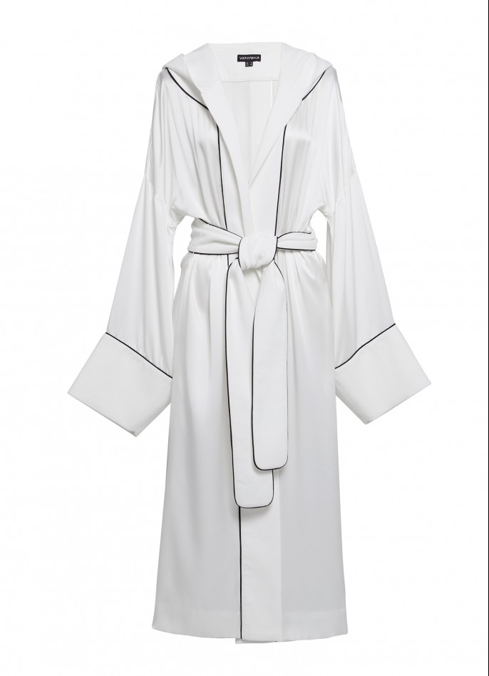 BLACK TRIMMED WHITE SILK SATIN AND COTTON HOODED COAT