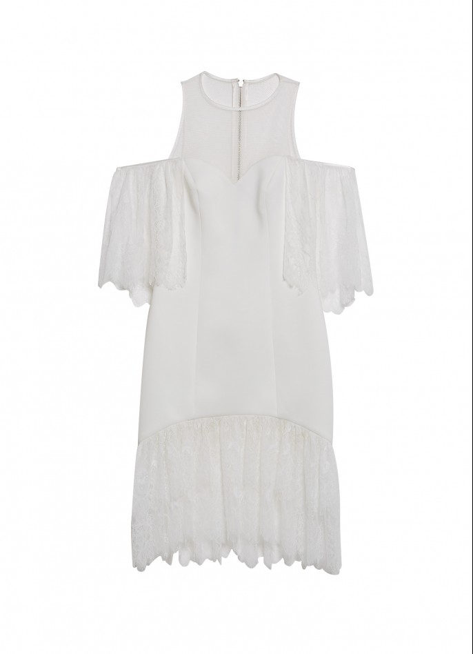 LACE-RUFFLED WHITE NEOPRENE AND MESH MIDI DRESS