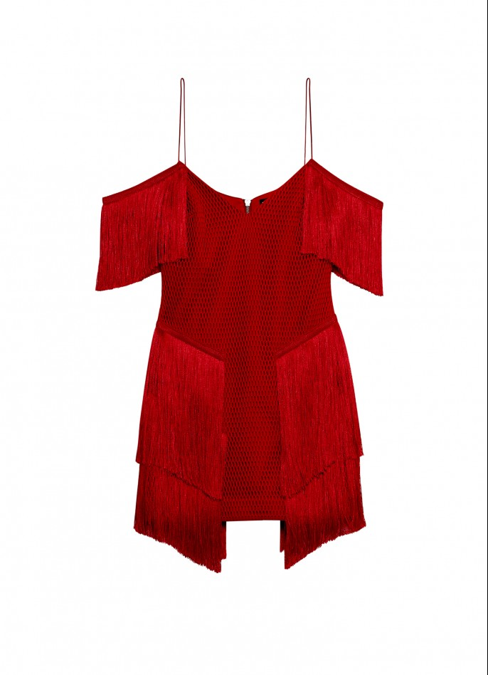 RED MESH FRINGE MINI DRESS