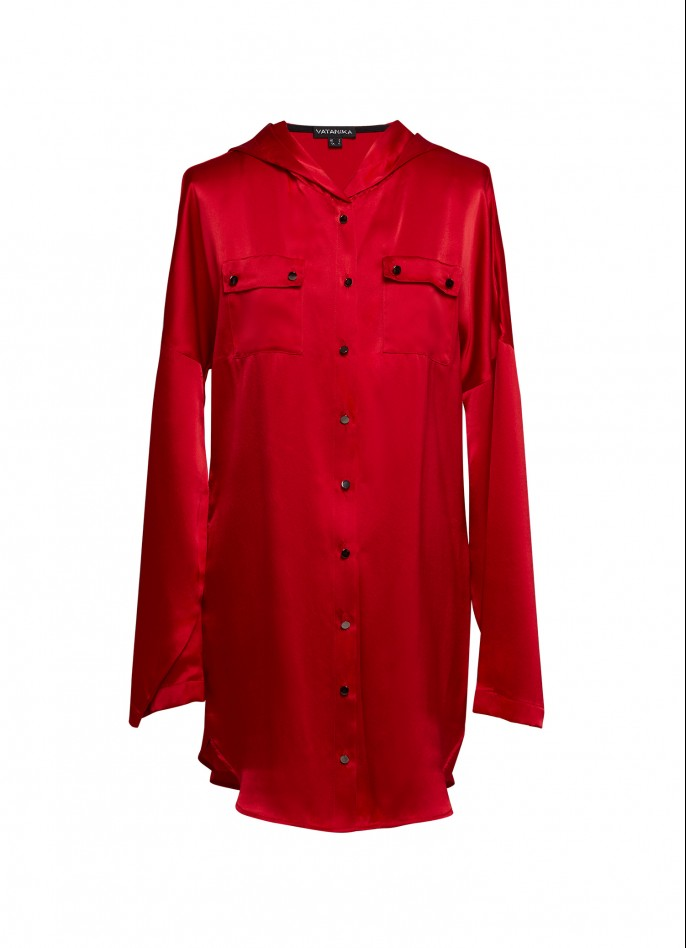 RED SILK SATIN HOODED BLOUSE