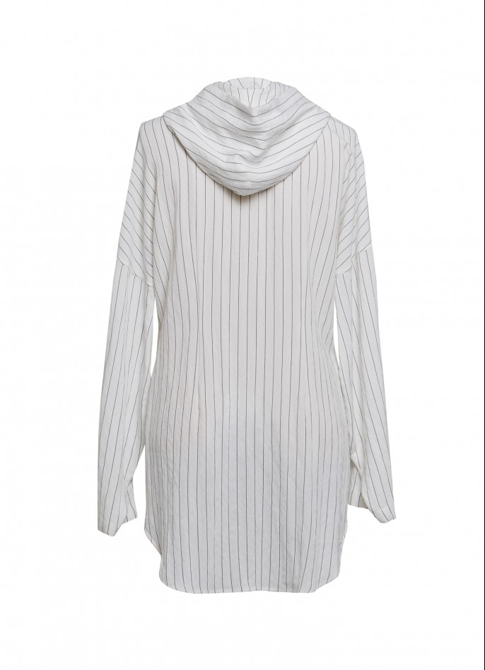 PINSTRIPED COTTON BLEND HOODED BLOUSE