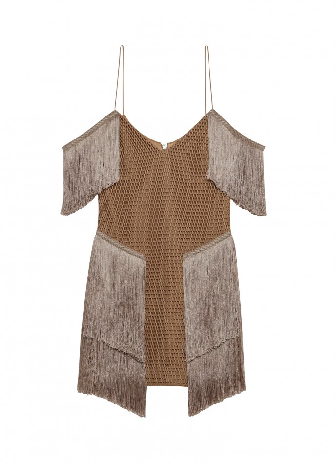 BEIGE MESH FRINGE MINI DRESS