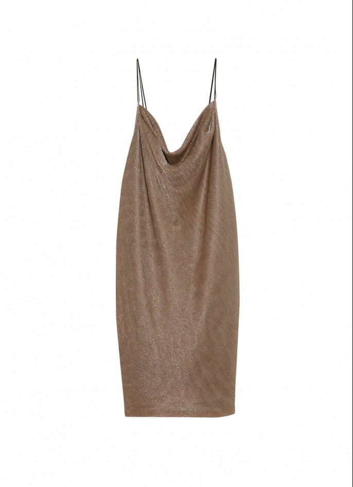 METALLIC PALE PINK LAME' AND STRETCH SILK SATIN DRAPED BACKLESS SLIP DRESS
