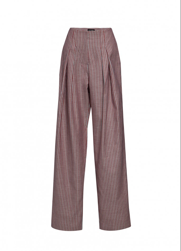 PINSTRIPED COTTON WIDE-LEG PANTS