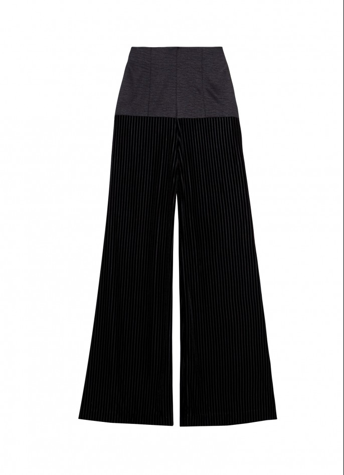 BLACK HIGH-WAISTED COTTON-BLEND AND VELVET WIDE-LEG PANTS