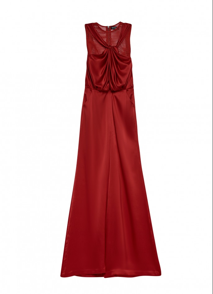 RED DRAPED SILK SATIN AND MESH JUMPSUIT