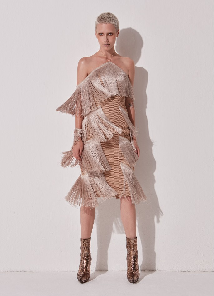 BEIGE MESH FRINGE MIDI DRESS