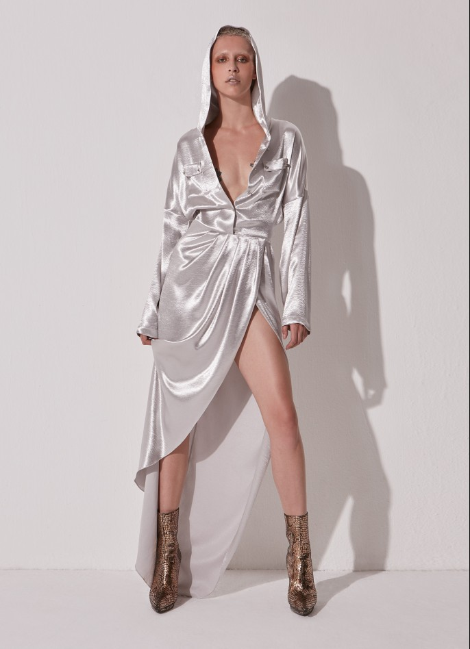 SILVER HAMMERED-SATIN HOODED MAXI DRESS