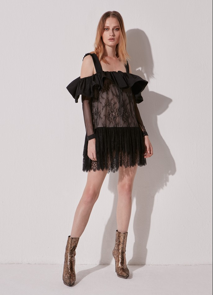 BLACK COTTON-BLEND RUFFLED LACE MINI DRESS