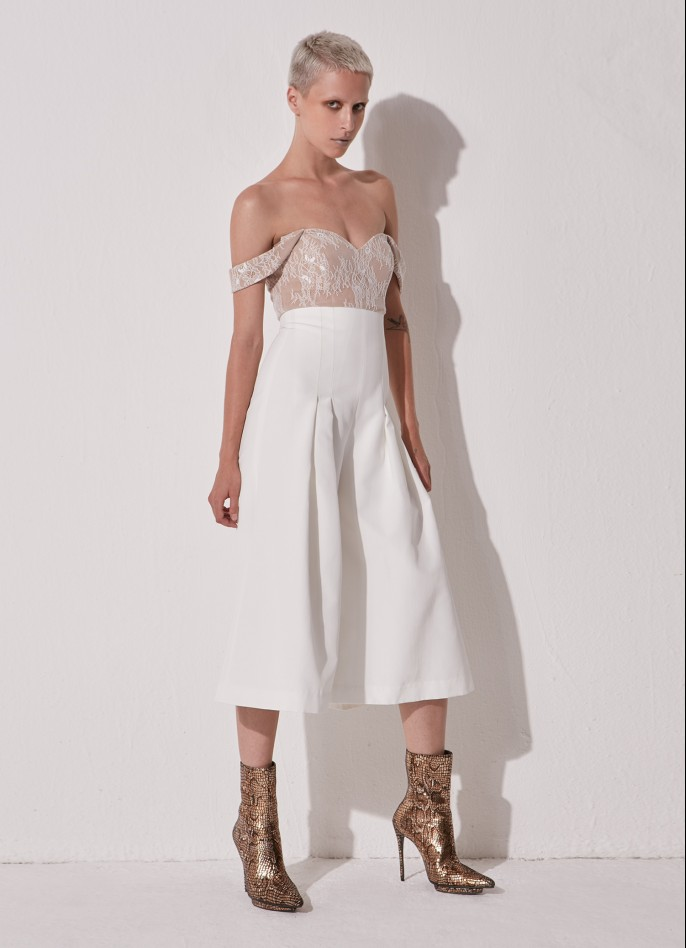 WHITE LACE AND COTTON-BLEND JUMPSUIT