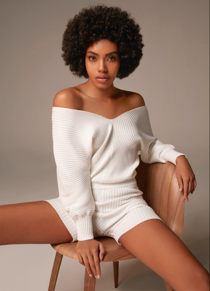 KNITTED PLAYSUIT - OFF WHITE