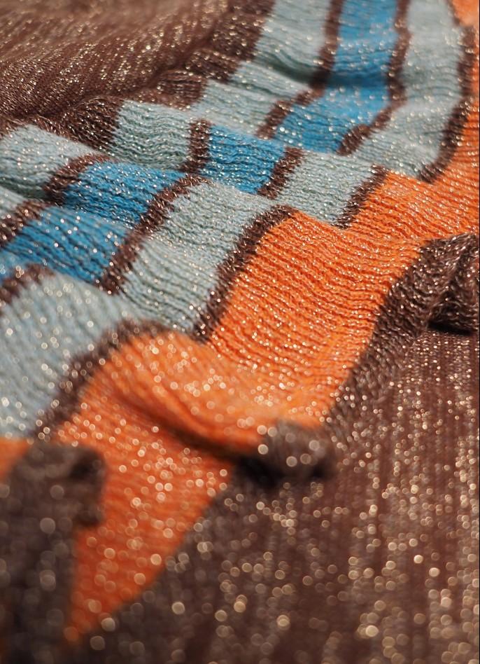 KNITTED GLITTER RUFFLE DRESS - BROWN / MINT / ORANGE