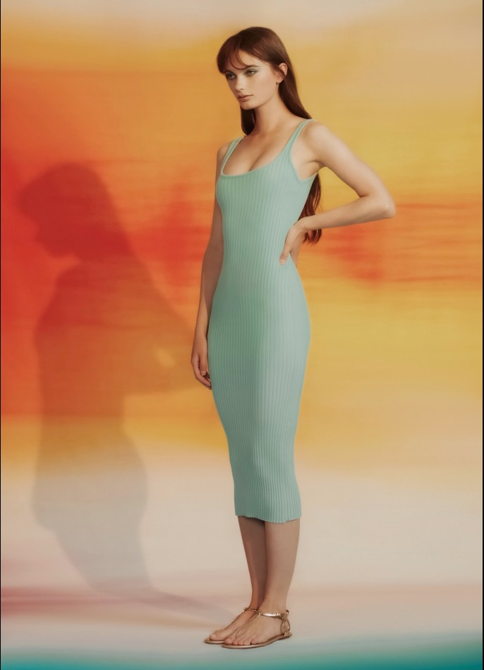 KNITTED MIDI DRESS - MINT GREEN