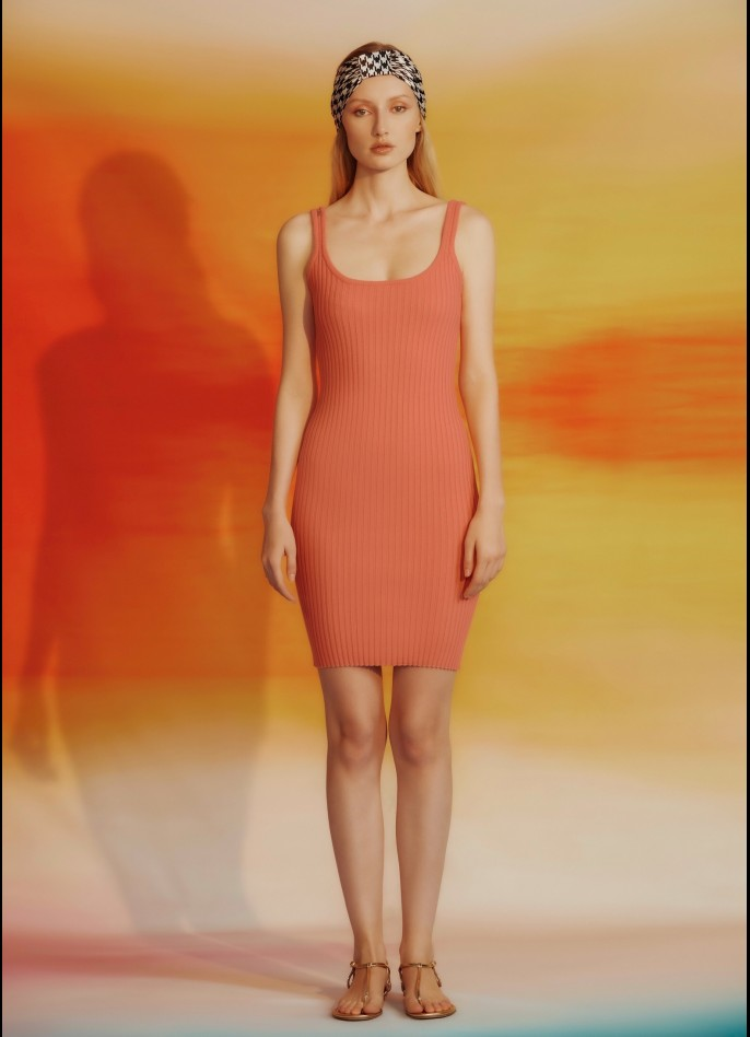 KNITTED MINI DRESS - SALMON