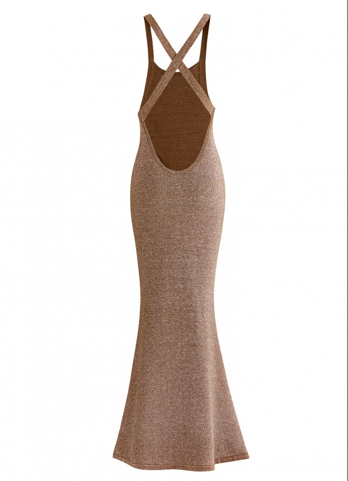 KNITTED GLITTER MAXI DRESS - BROWN / SILVER