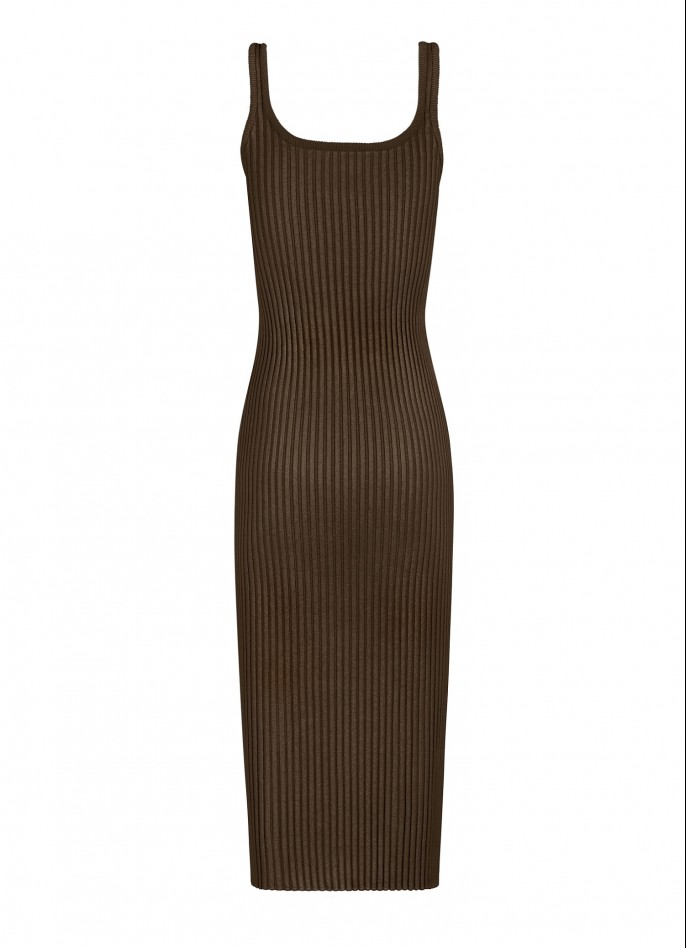 KNITTED MIDI DRESS - BROWN