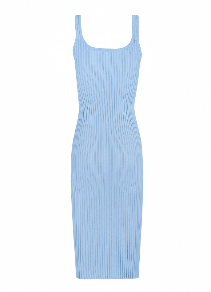 KNITTED MIDI DRESS - BABY BLUE
