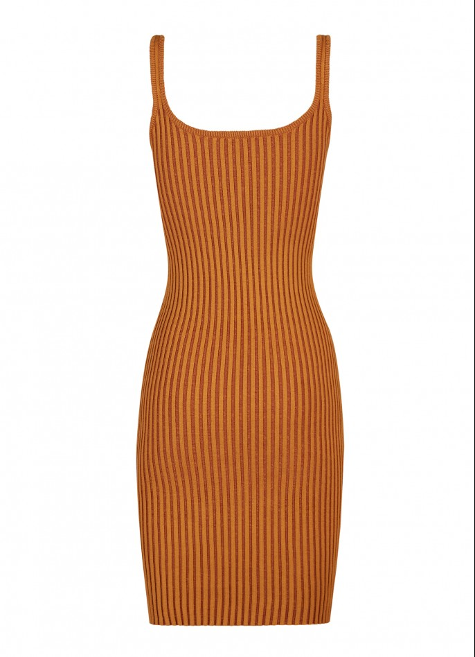 KNITTED TWO-TONE DRESS - CRÈME CARAMEL