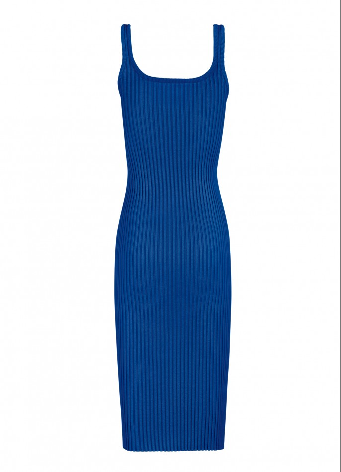 KNITTED MIDI DRESS - BLUE
