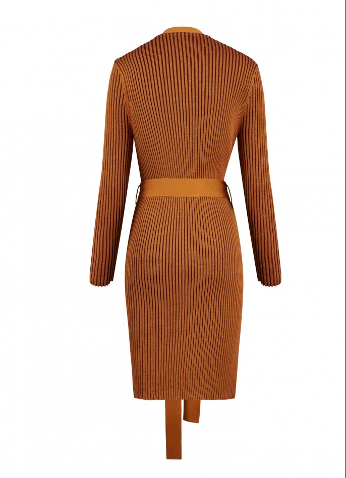 KNITTED TWO-TONE COAT - CRÈME CARAMEL