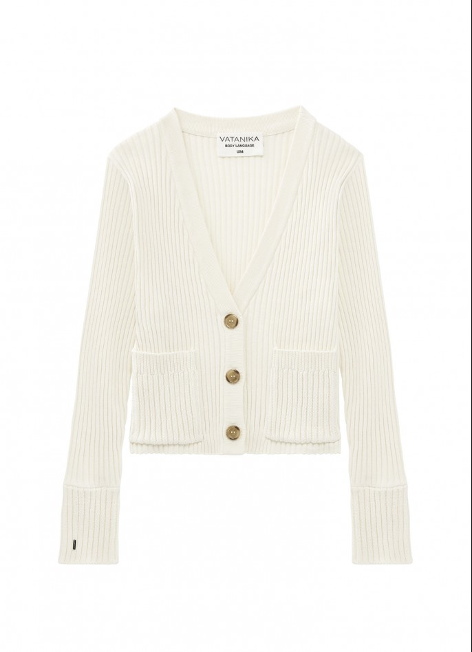 KNITTED CARDIGAN - OFF WHITE
