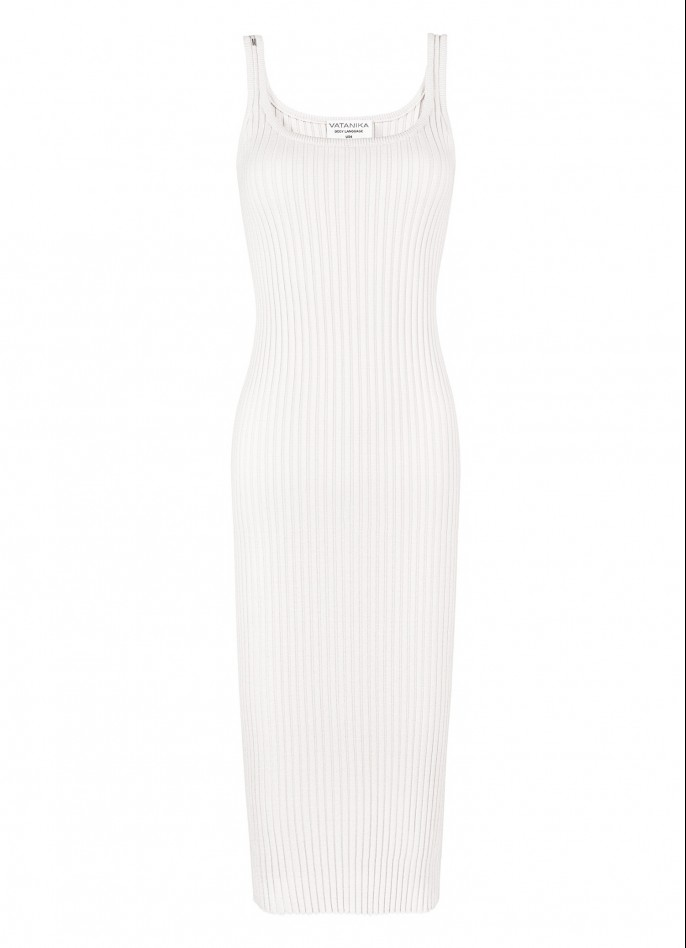 KNITTED MIDI DRESS - OFF WHITE