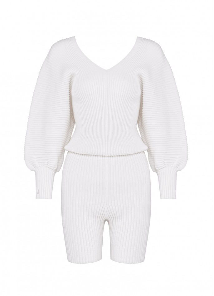 KNITTED PLAYSUIT - WHITE