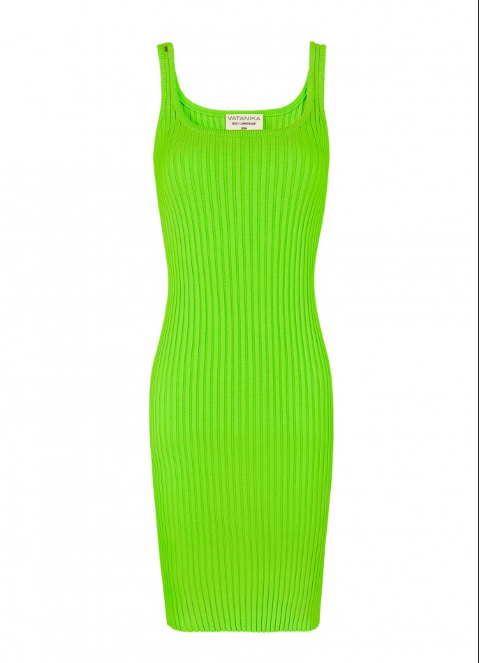 KNITTED MINI DRESS - NEON GREEN