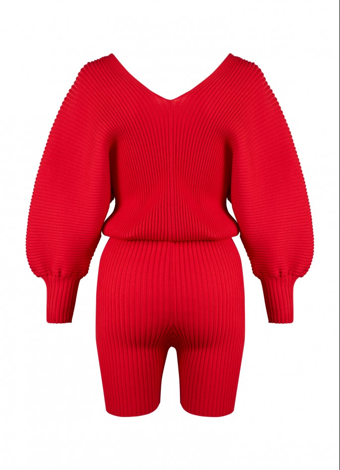 KNITTED PLAYSUIT - RED