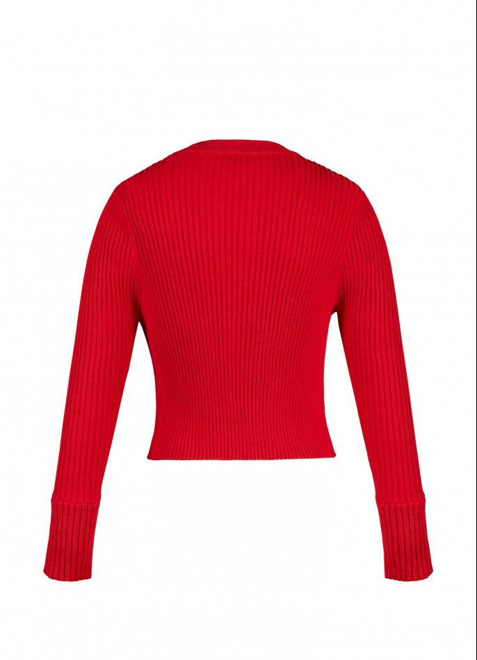 KNITTED CARDIGAN - RED
