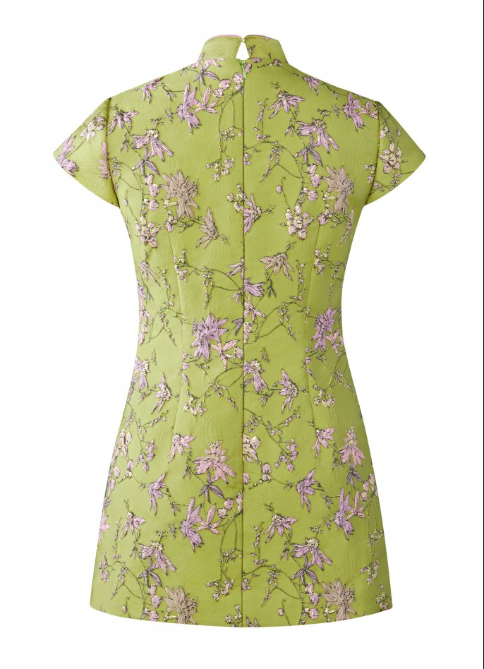 SOLD OUT - LIGHT GREEN JACQUARD QIPAO