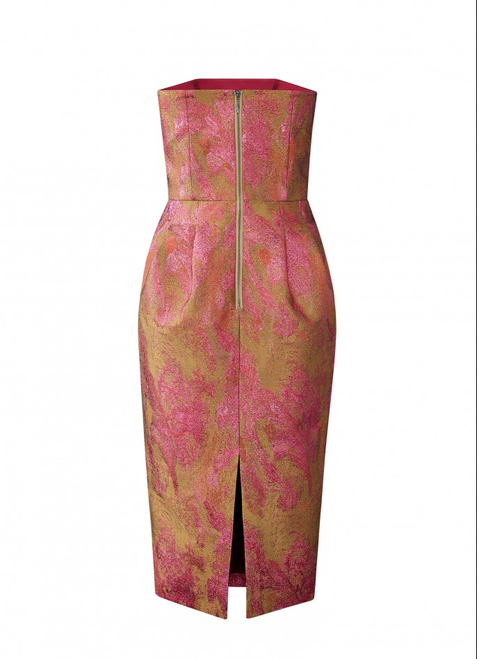 SILK ITALIAN JACQUARD MIDI DRESS - PINK / GOLD METALLIC (PRE ORDER - AVAILABLE IN 10 DAYS)