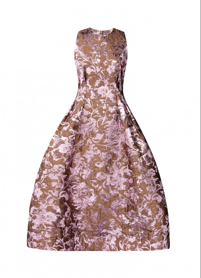 SOLD OUT - SILK ITALIAN JACQUARD MIDI DRESS - PINK METALLIC