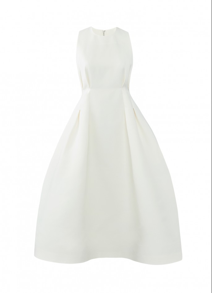 OFF WHITE GROSGRAIN MIDI DRESS