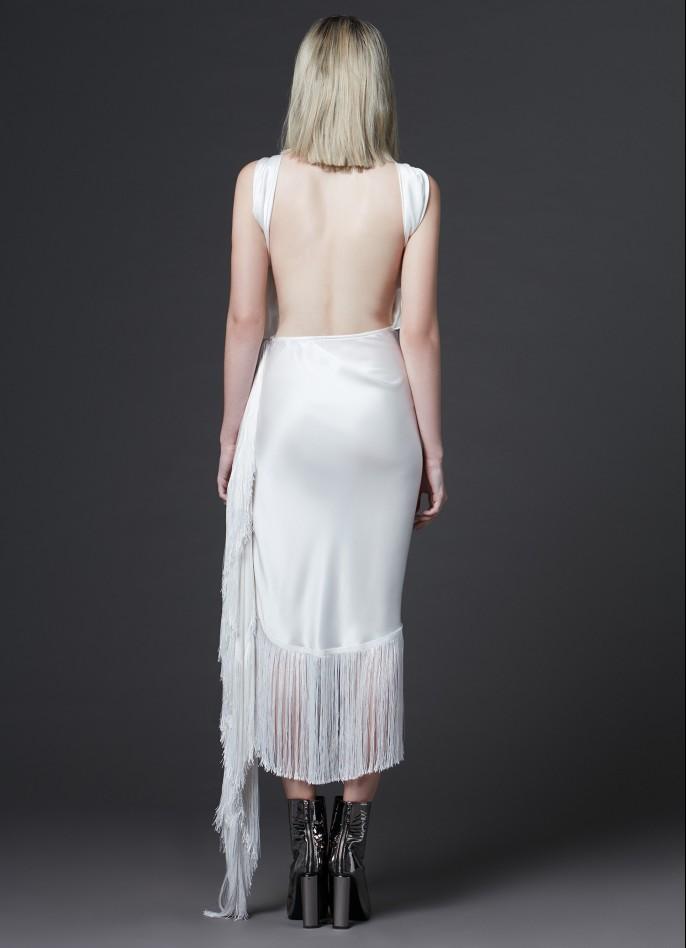 BLACK FRINGE-TRIMMED SLIK SATIN BACKLESS DRESS