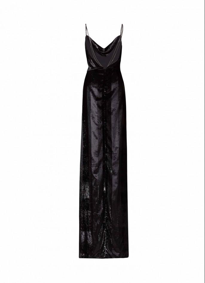 BLACK METALLIC VELVET MAXI DRESS