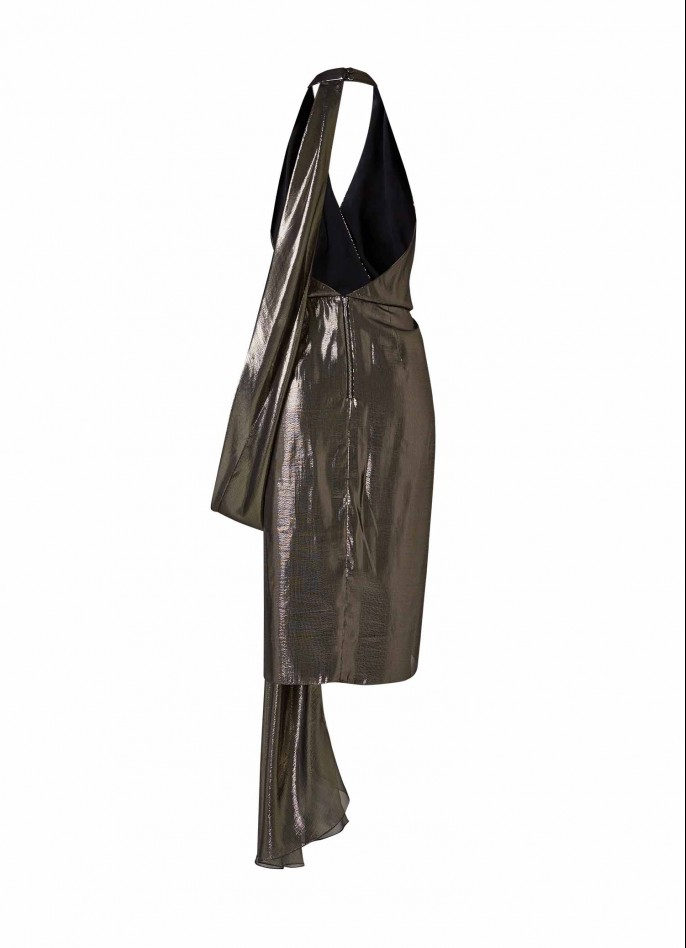 SILVER METALLIC LAME' DRAPED BACKLESS DRESS