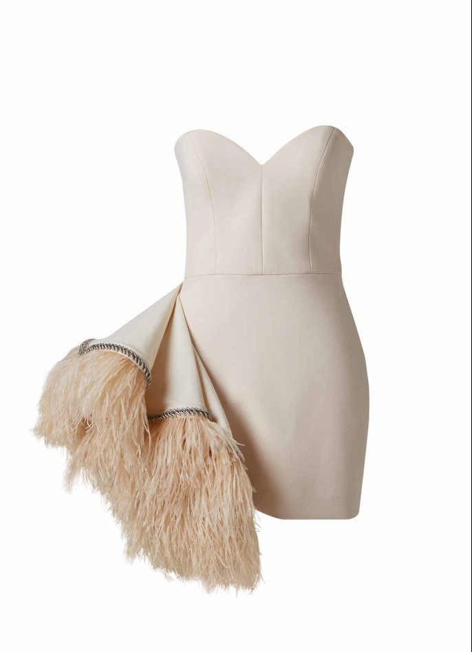 BEIGE FEATHER-TRIMMED EMBROIDERED GROSGRAIN-RUFFLED CREPE BLEND MINI DRESS