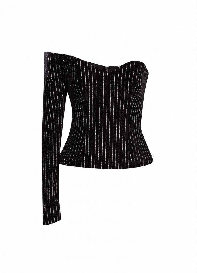 BLACK PINSTRIPED STRETCH VELVET OFF SHOULDER TOP