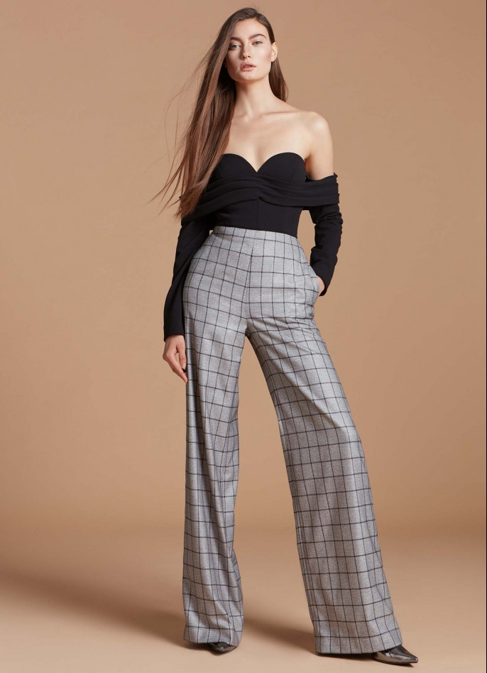 BLACK CHECKED WOOL-BLEND AND CREPE OFF SHOULDER WIDE-LEG JUMPSUIT