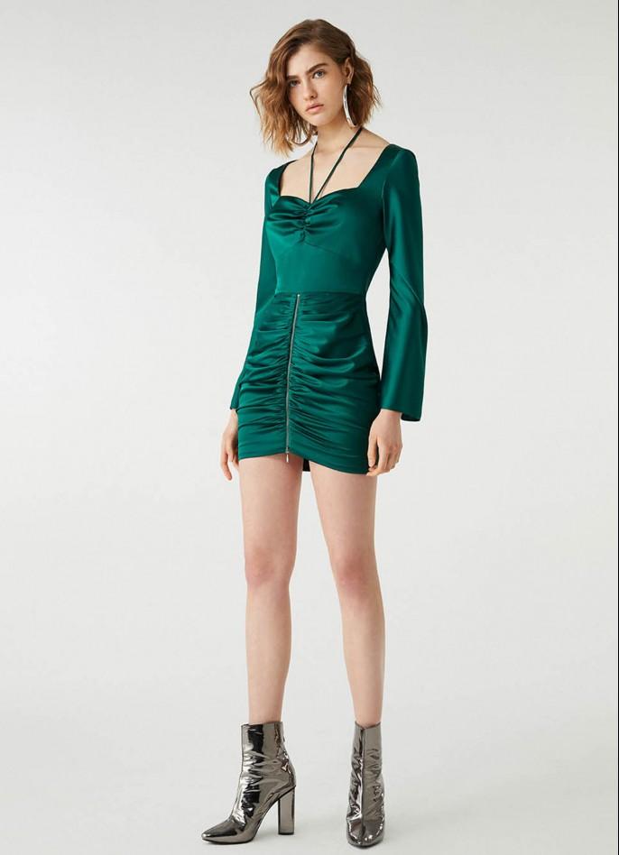 GREEN RUCHED SATIN HIGH ZIP SLIT DRESS