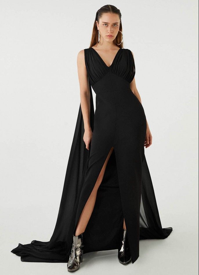 BLACK CHIFFON-TRIMMED STRETCH CREPE GOWN