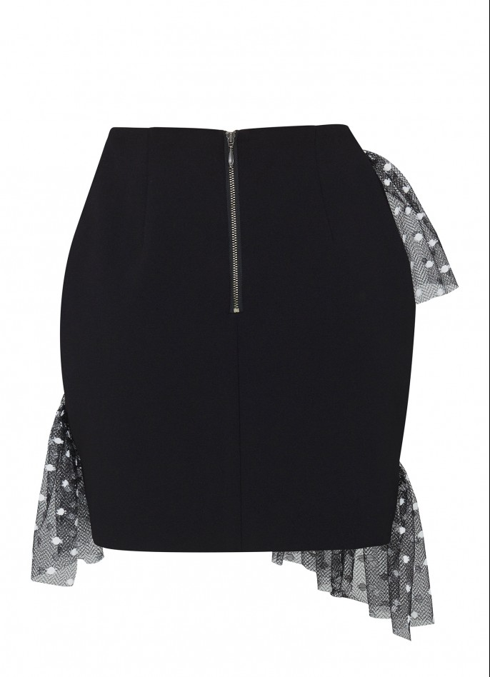 POLKA DOT MESH-TRIMMED STRETCH CREPE MINI SKIRT