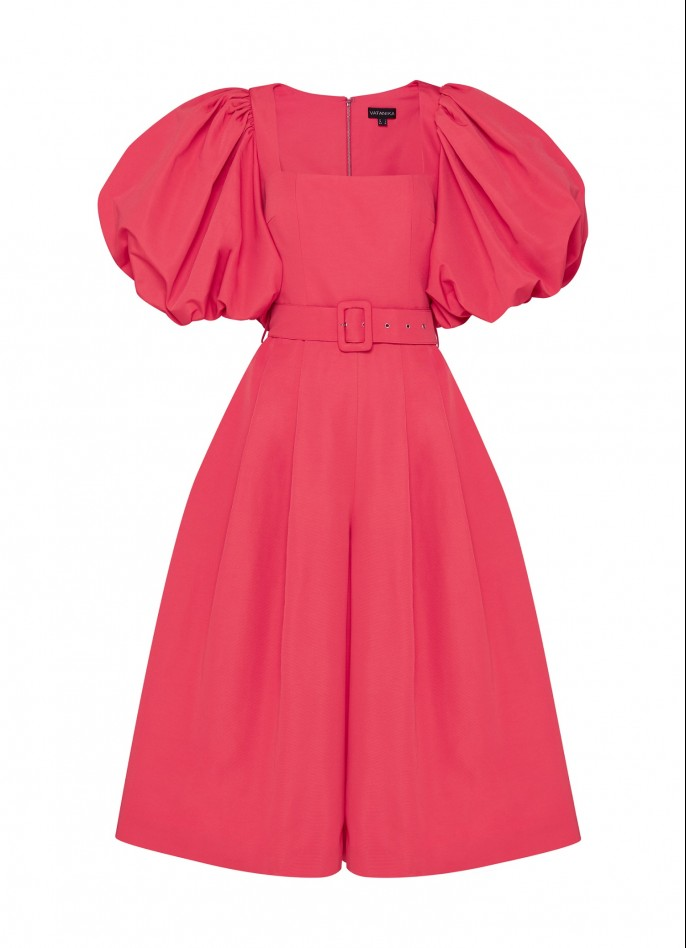 PINK GROSGRAIN PUFF SLEEVE BELTED JUMPSUIT