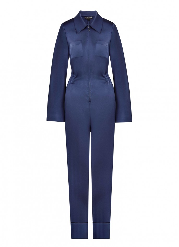 NAVY BLUE SILK SATIN JUMPSUIT