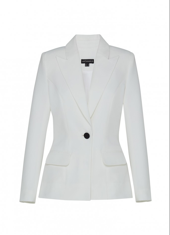 WHITE GROSGRAIN BLAZER WITH REMOVABLE POLKA DOT MESH-TRIM