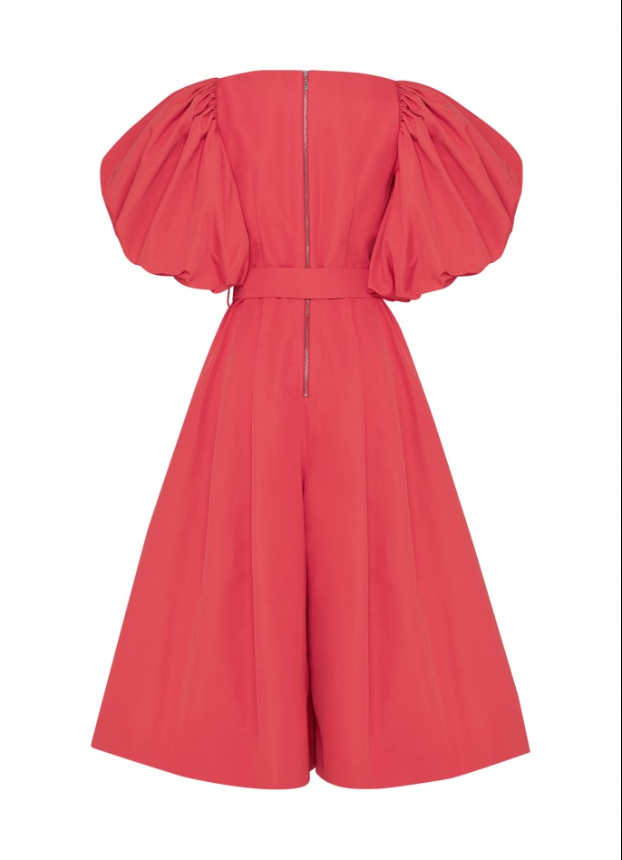GROSGRAIN PUFF SLEEVE BELTED JUMPSUIT